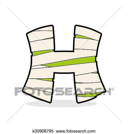 H Letter Monster Zombie Alphabetical Icon Medical Bandages