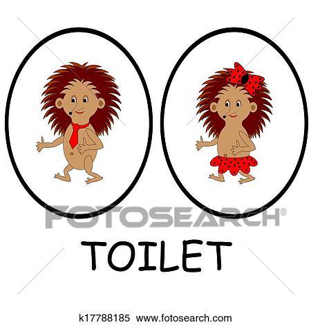 Clipart Mann Frau Toilette Signs Lustig Karikatur Igel