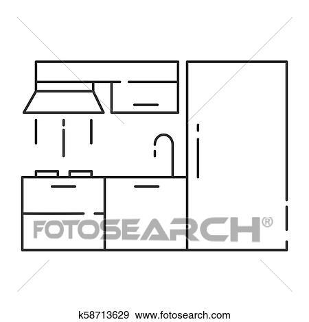 Clip Art Of Modern Kitchen Interior Design Outline Vector