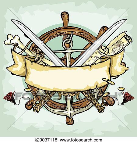 Pirata Logotipo Desenho Vetorial Ilustracoes Com Espaco