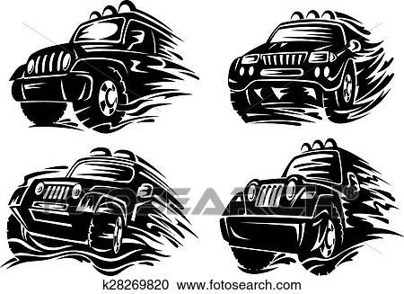 Clipart Silhouetten Von Jeep Oder überkreuzung K28269820