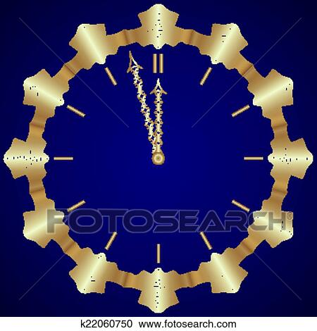 clipart vector abstract new year golden clock on dark blue background fotosearch search
