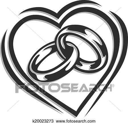 Clipart of wedding ring in heart k20023273 Search Clip Art