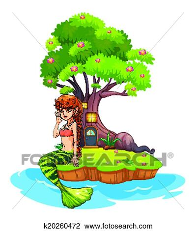 clipart of a beautiful mermaid near the treehouse k20260472 search rh fotosearch com treehouse clipart png tree house clip art transparent