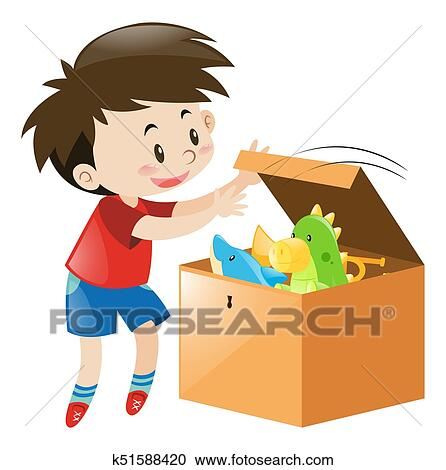 Illustration Of A Kid Boy Toddler Picking Up His Toy To Store.. Stock  Photo, Picture And Royalty Free Image. Image 120524723.