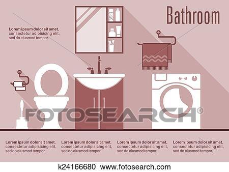 Cuarto de baño, diseño de interiores, en, plano, estilo Clipart