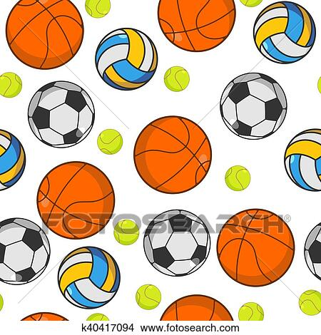 e447b6fc017 Deportes, pelota, seamless, pattern., pelotas, ornament., baloncesto, y,  football., tenis, y, volleyball., deportes, plano de fondo