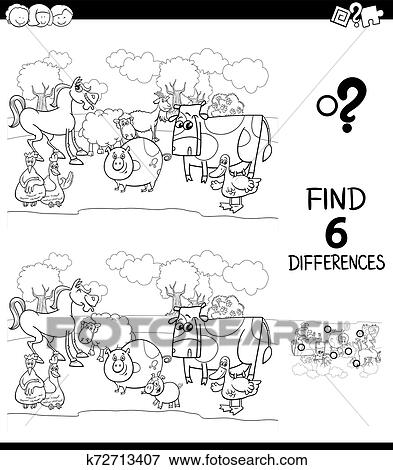 Differences Color Book With Farm Animal Characters Clip Art