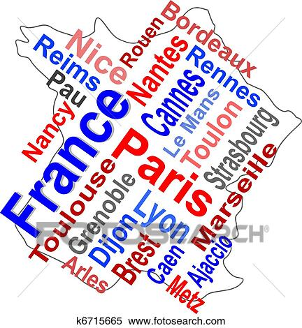 France map and words cloud with larger cities Clipart ...