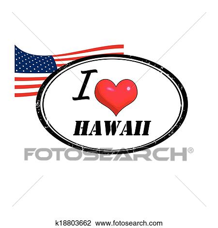 Clipart Of Hawaii Stamp K18803662