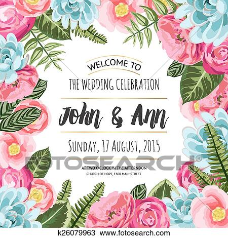 Clipart Hochzeitskarten Karte Mit Malen Blumen K26079963