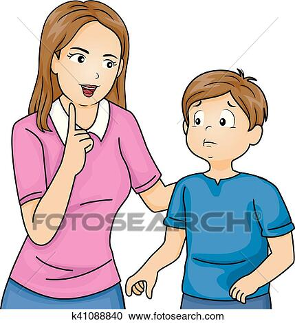 clipart of kid boy mom talk discipline k41088840 search clip art rh fotosearch com conscious discipline clipart discipline clipart