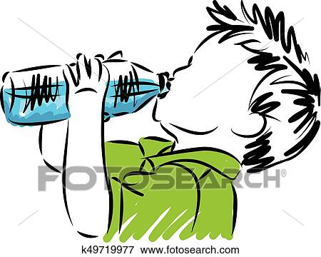 clip art of little boy drinking water vector illustration k49719977 rh fotosearch com drinking water clip art free drinking water clipart black and white