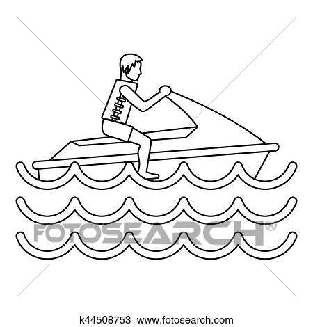 drawing of man on jet ski icon simple style k44508753 search Cartoon Ski Snowman drawing man on jet ski icon simple style fotosearch search clipart