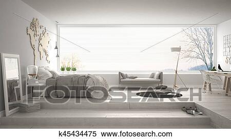 Banque Du0027Illustrations   Scandinave, Minimaliste, Chambre à Coucher, à,  Bureau