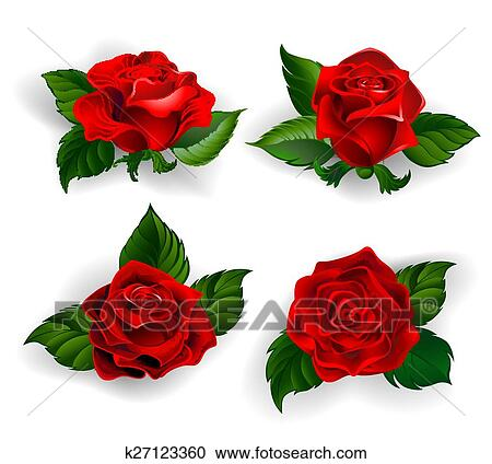Clipart Set Di Rose Rosse K27123360 Cerca Clipart