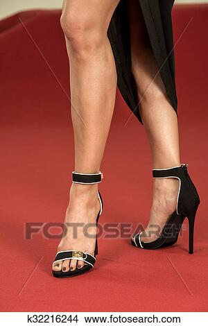 Stock Photo Sexy Legs In Fancy High Heels On The Red Carpet Fotosearch