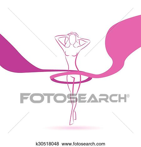 Woman Line Silhouette Pink Ribbon Breast Cancer Awareness Female Body Clip Art K30518048 Fotosearch