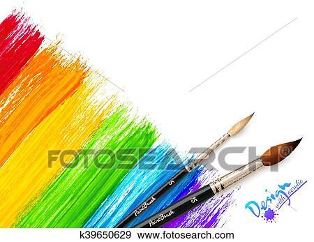 Clip Art Acryl Malen Regenbogen Hintergrund Mit Bürsten