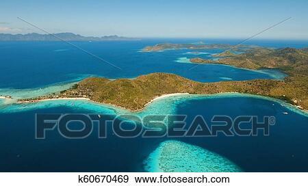 Aerial View Tropical Lagoon Sea Beach Tropical Island
