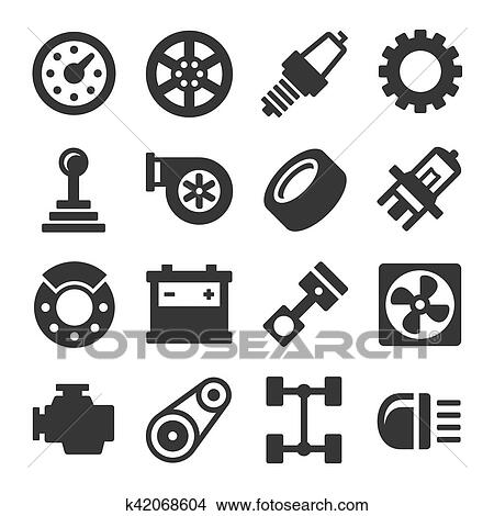 Clipart of Car Parts Icons Set on White Background. Vector k42068604 ...
