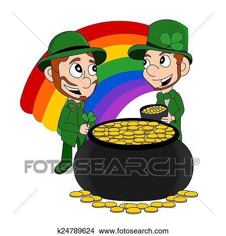 Cartoon leprechauns with pot of gol Stock Illustration