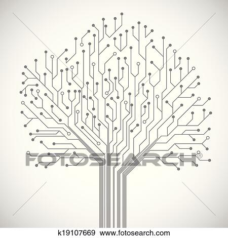 Clip Art of Circuit board tree symbol poster k19107669 - Search ...