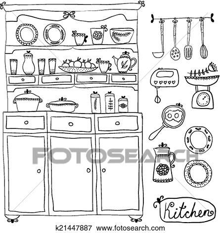 Clip Art - cucina, set, in, vector., disegni elementi, di, kitchen ...