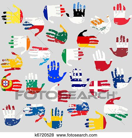 Stock Illustration Of Hands With European Union Countries Flags