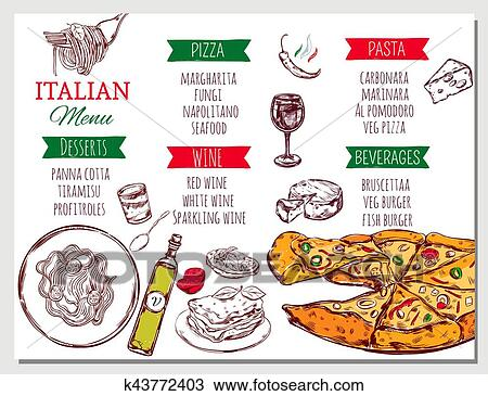 clipart italien menu restaurant k43772403 recherchez des clip arts des illustrations des. Black Bedroom Furniture Sets. Home Design Ideas