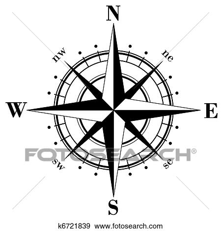 Clip Art of Compass Rose k6721839 - Search Clipart, Illustration ...