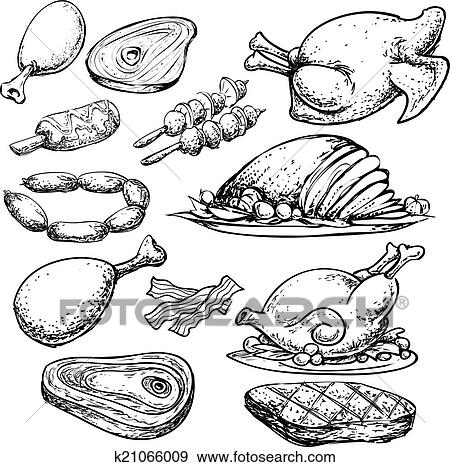 Clip Art Of Meat Doodle K21066009 Search Clipart