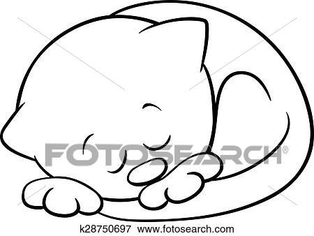 Sleeping kitten coloring book Clip Art