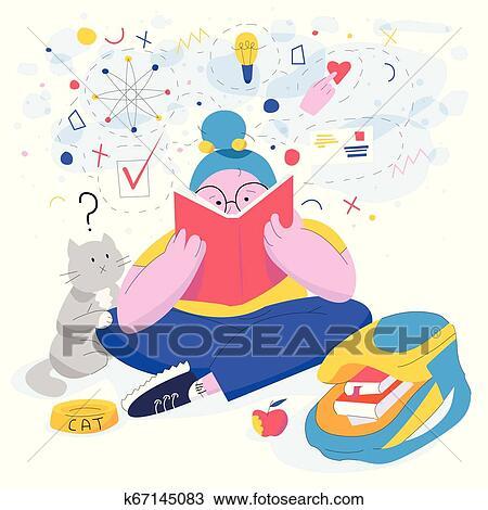 Vetorial Ilustracao De Um Menina Jovem Lendo Um Livro Clipart