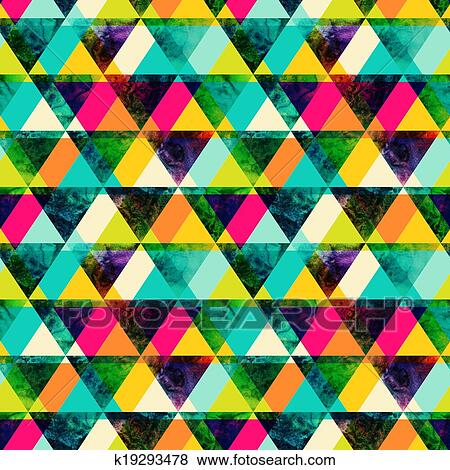 stock illustration of watercolor triangles seamless pattern modern