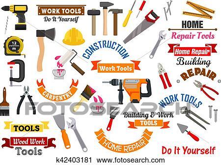 Repair Construction Signs Set Fotosearch