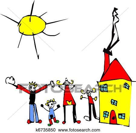 Bambino Disegno Di Famiglia Sole E Casa Clipart K6735850