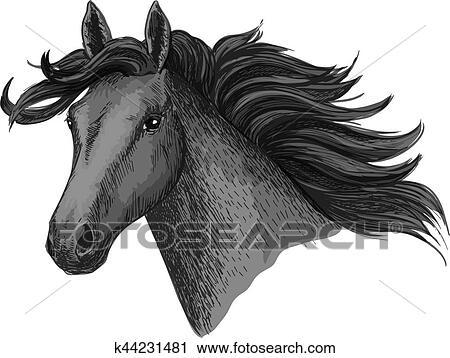 Clipart Of Black Horse Head Vector Sketch Equine Races Symbol