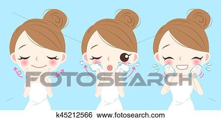 Cartoon Skin Care Woman Clip Art K45212566 Fotosearch
