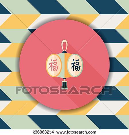 Clipart - chinesisches neues jahr, flache, symbol, mit, langer ...
