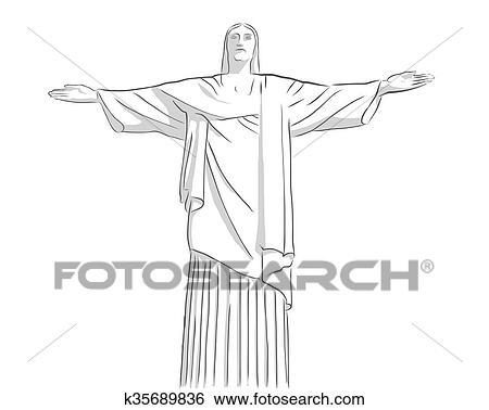 Dessin Christ Redempteur clipart - christ rédempteur, statue, contour, croquis k35689836
