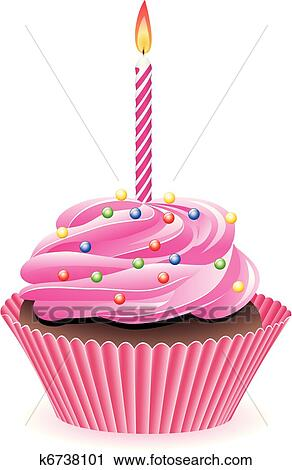 Cupcake With Burning Candle Clipart K6738101 Fotosearch
