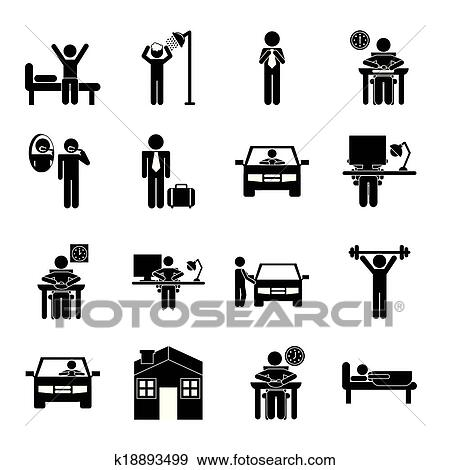 clip art of daily routine k18893499 search clipart illustration