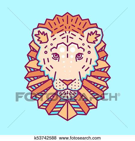 Clipart Geometrique Tete Lion Simple Forms Animal Mignon