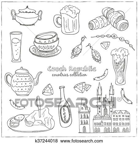 Clip Art Of Hand Drawn Doodle Czech Republic Travel Set K37244018