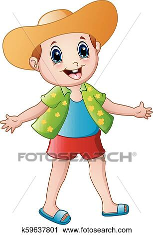 Happy boy cartoon with summer clothes and a hat Clipart ...