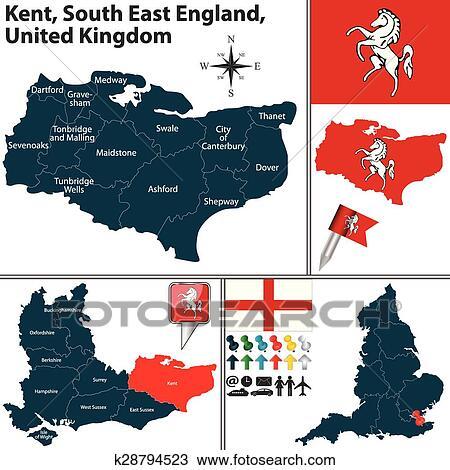 Cartina Regno Unito Con Regioni.Kent Sud Est Inghilterra Regno Unito Clipart K28794523 Fotosearch