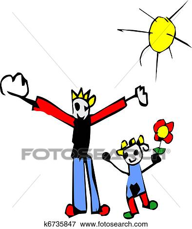 Clip Art Of Kid Drawing Of Father And Daughter K6735847