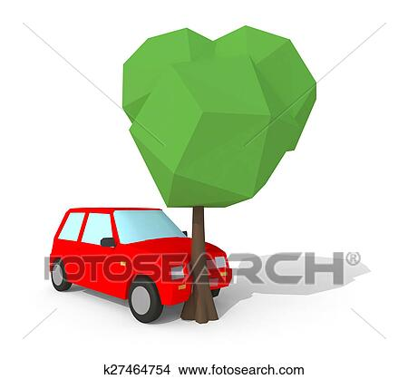 Drawings of low poly 3d car crash with tree k27464754 - Search Clip ...