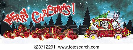 Clipart of Merry Christmas banner with Santa Claus Driver ...
